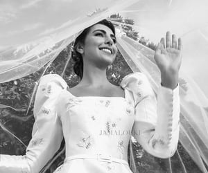 aesthetic, black and white, and bride image