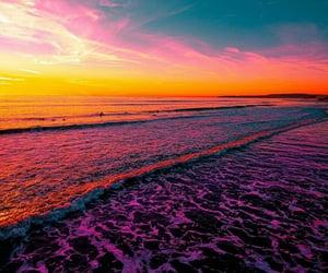 ocean beach, oceans, and pink sky image
