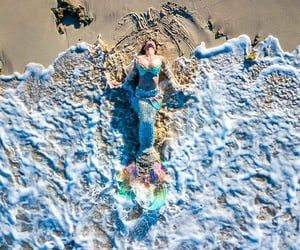 beach, mermaid, and sand image