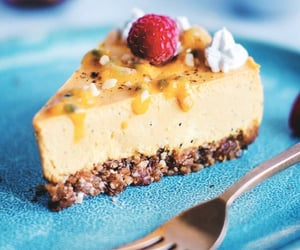 cheesecake, food, and passion fruit image