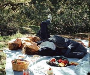 love, couple, and picnic image