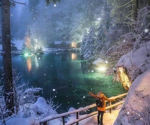 снег, зима, and красиво image