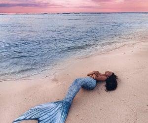 mermaid, girl, and beach image