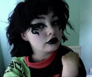 bangs, black hair, and edgy image
