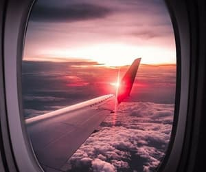 travel, sunset, and airplane image