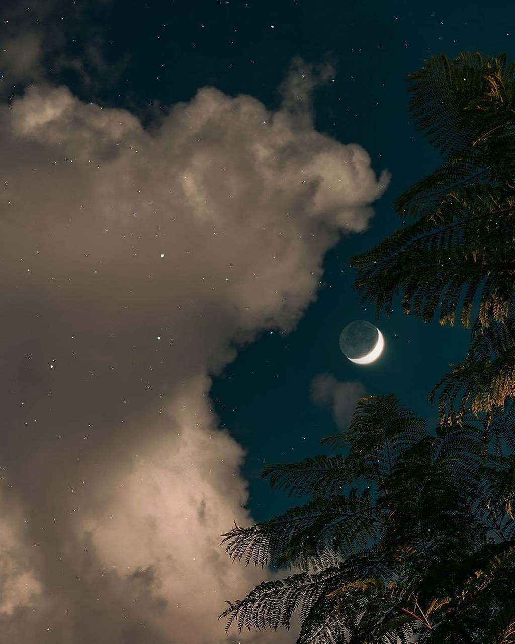 clouds, landscape, and moon image
