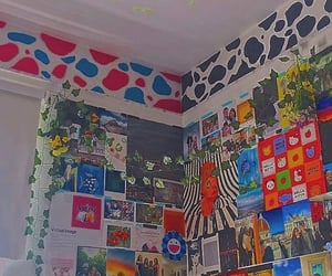 posters, room, and saturated image