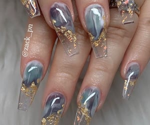 acrylic, goals, and gold nails image