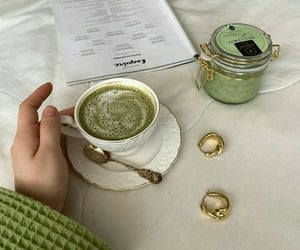 gold, ring, and tea image