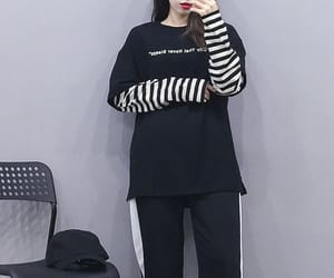 black, striped, and casual image