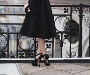 black dress, black heels, and black shoes image