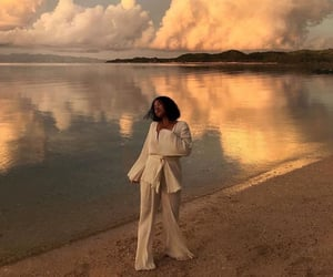 beach, clouds, and fashion image