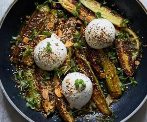 herb, burrata cheese, and salad image