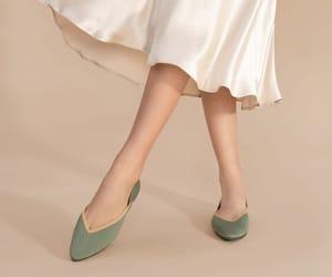 ballet flats, silk, and satin skirt image