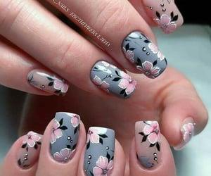 manicure, nailpolish, and flower nails image