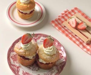 food, strawberry, and cream image