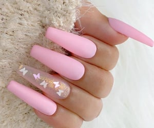 nails, butterfly, and pink image