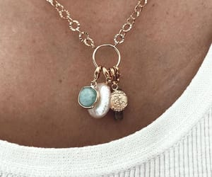 crystal, gold necklace, and pearl image