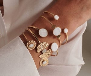 boho, gold bracelet, and mother of pearl image