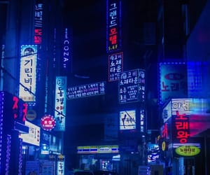 aesthetic, neon, and blue image