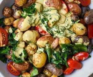 salad, spinach, and grape tomato image