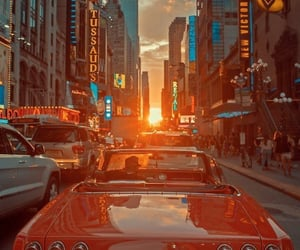 car, city, and sunset image
