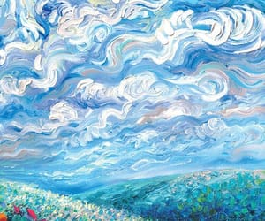 flowers, art, and sky image