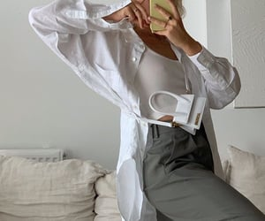 white crop top, white bag purse, and mirror selfie image