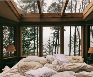 bed, cozy, and green image