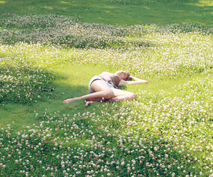flowers, girl, and grass image