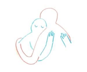 art, hug, and people image