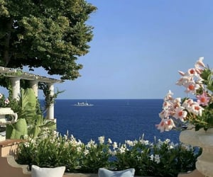 summer, flowers, and ocean image