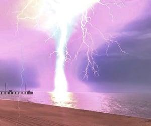 aesthetic, beach, and lightning image