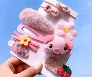 fluffy, hair clips, and pink image