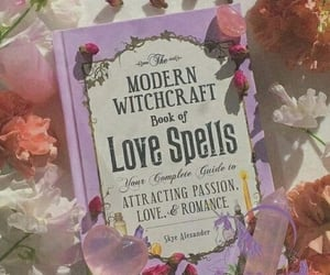 book, witch, and flowers image
