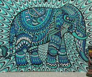 etsy, elephant wall decor, and psychedelic tapestry image