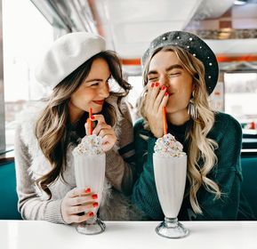 happy, friends, and milkshake image