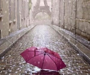 August, pink umbrella, and rain image