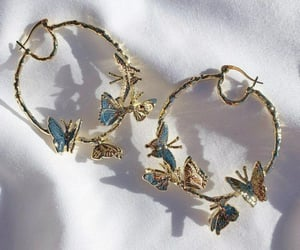 earrings, butterfly, and jewelry image