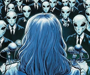 alien, blue, and art image