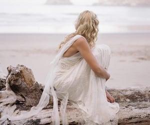 beach, bride, and dress image