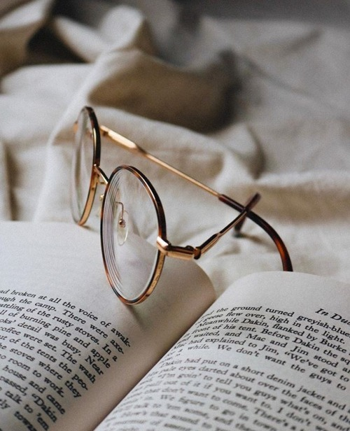 book, glasses, and read image
