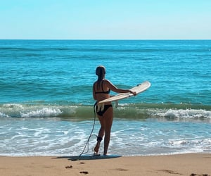 carefree, summertime, and surfing image