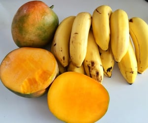 fruit, mango, and banana image