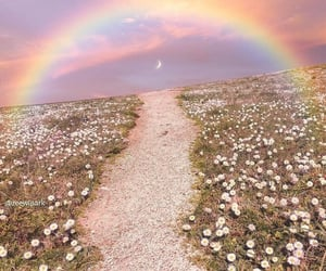 rainbow, flowers, and moon image