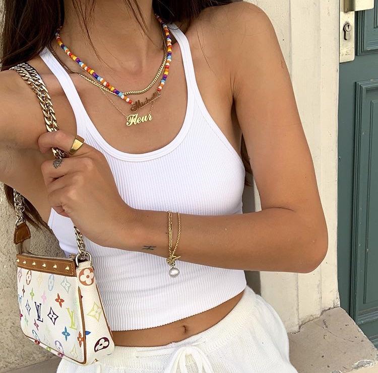 louis vuitton bag, white crop top, and white bag purse image