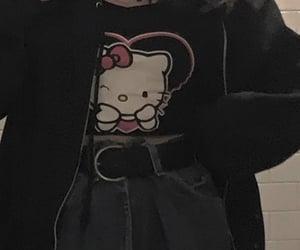 aesthetic, dark, and hello kitty image