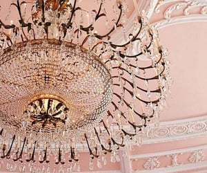 rose gold, pink, and chandelier image