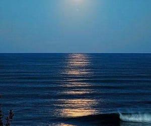 sea, ocean, and moon image