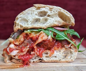 burger, sandwich, and mozzarella cheese image
